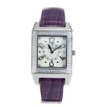 Replique Jaeger-Lecoultre Reverso Diamond Bezel avec bracelet en cuir cadran blanc-violet - Attractive Jaeger-Lecoultre Reverso Montre pour vous 33754