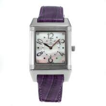 Replique Jaeger-Lecoultre Reverso avec bracelet en cuir cadran blanc-violet - Attractive Jaeger-Lecoultre Reverso Regardez pour vous 33744