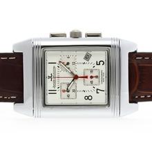 Replique Jaeger-Lecoultre Reverso travail Chronogragh avec cadran blanc-bracelet en cuir - Attractive Jaeger-LeCoultre Reverso pour vous 34019