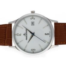 Replique Jaeger-Lecoultre classique avec cadran blanc-bracelet en cuir - Attractive Jaeger-LeCoultre Regarder autres pour vous 34014