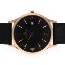Replique Jaeger-Lecoultre classique boîtier en or rose avec cadran noir et bracelet en cuir - Attractive Jaeger-LeCoultre Regarder autres pour vous 34012