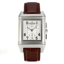Replique Jaeger-Lecoultre Reverso travail Chronographe avec cadran blanc-bracelet en cuir - Attractive Jaeger-LeCoultre Reverso pour vous 34002