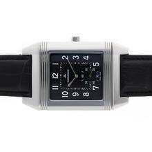 Replique Jaeger-Lecoultre Reverso Manuel d'enroulement avec cadran noir-bracelet en cuir - Attractive Jaeger-LeCoultre Reverso pour vous 34001