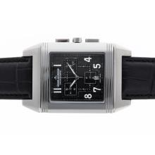 Replique Jaeger-Lecoultre Reverso travail Chronographe avec cadran noir-bracelet en cuir - Attractive Jaeger-Lecoultre Reverso Regardez pour vous 34000
