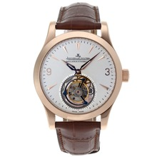 Replik Jaeger-Lecoultre Working Tourbillon Manual Winding Rose Gold Case with White Dial-Leather Strap – Attractive Jaeger-Lecoultre Tourbillon Watch for You 33979