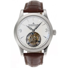 Replik Jaeger-Lecoultre Working Tourbillon Manual Winding with White Dial-Leather Strap – Attractive Jaeger-Lecoultre Tourbillon Watch for You 33978