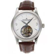 Replique Jaeger-Lecoultre travail Tourbillon Remontage manuel avec cadran blanc-bracelet en cuir - Attractive Jaeger-LeCoultre Tourbillon pour vous 33978