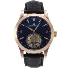 Replik Jaeger-Lecoultre Working Tourbillon Manual Winding Rose Gold Case with Black Dial-Leather Strap – Attractive Jaeger-Lecoultre Tourbillon Watch for You 33977