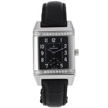 Replique Jaeger-Lecoultre Reverso Diamond Bezel avec cadran noir-bracelet en cuir - Attractive Jaeger-Lecoultre Reverso Montre pour vous 33924