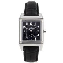 Replique Reverso Jaeger-Lecoulbre cadran noir avec bracelet en cuir noir-verre de saphir - Attractive Jaeger-Lecoultre Reverso Regardez pour vous 33898
