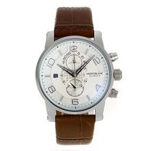 Replique Chronographe Flyback Montblanc travail avec cadran blanc-bracelet en cuir - Attractive Regarder Flyback Montblanc pour vous 35614