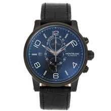 Replique Flyback Montblanc travail Chronographe PVD affaire avec cadran noir-bracelet en cuir - Montre Montblanc Flyback attrayant pour vous 35601