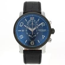 Replique Flyback Montblanc travail Chronographe PVD lunette avec cadran noir-bracelet en cuir - Montre Montblanc Flyback attrayant pour vous 35595