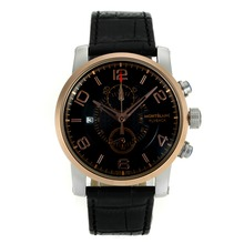 Replik Montblanc Flyback Working Chronograph Two Tone Case and Markers with Black Dial-Leather Strap – Attractive Montblanc Flyback Watch for You 35579