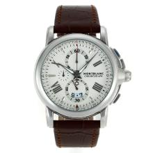 Replik Montblanc Star Working Chronograph with White Dial-Leather Strap – Attractive Montblanc Star Watch for You 35577