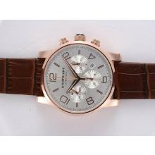 Replique Montblanc Time Walker Chronographe Suisse Valjoux 7750 Mouvement Boîtier en or rose avec cadran blanc - Attractive Montblanc Time Walker montre pour vous 35959