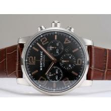 Replique Montblanc Time Walker Chronographe Suisse Valjoux 7750 Mouvement avec cadran noir - Attractive Montblanc Time Walker montre pour vous 35952