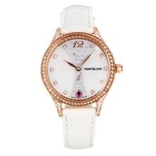 Replique Montblanc Princesse Grace de Monaco grade diamant en or rose avec bracelet en cuir cadran blanc-verre de saphir blanc-35496