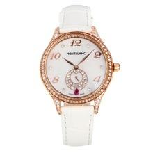 Replique Montblanc Princesse Grace de Monaco grade diamant en or rose avec bracelet en cuir cadran blanc-verre de saphir blanc-35495