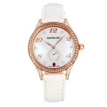 Replique Montblanc Princesse Grace de Monaco grade diamant en or rose avec bracelet en cuir cadran blanc-verre de saphir blanc-35494
