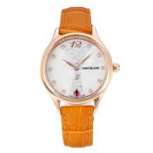 Replique Montblanc Princesse Grace de Monaco année boîtier en or rose avec cadran blanc-verre de saphir bracelet en cuir brun-35493