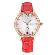 Replique Montblanc Princesse Grace de Monaco grade diamant en or rose avec cadran blanc-verre de saphir Peachblow-bracelet en cuir 35490