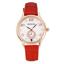 Replique Montblanc Princesse Grace de Monaco année boîtier en or rose avec bracelet en cuir cadran blanc-verre de saphir-Rouge 35487