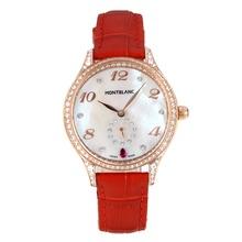 Replique Montblanc Princesse Grace de Monaco grade diamant en or rose avec bracelet en cuir cadran blanc-verre de saphir-Rouge 35486