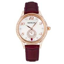 Replique Montblanc Princesse Grace de Monaco grade diamant en or rose avec bracelet en cuir cadran blanc-verre de saphir violet-35485