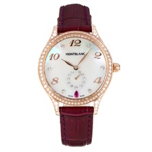 Replique Montblanc Princesse Grace de Monaco grade diamant en or rose avec bracelet en cuir cadran blanc-verre de saphir violet-35484