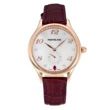 Replique Montblanc Princesse Grace de Monaco année boîtier en or rose avec bracelet en cuir cadran blanc-verre de saphir violet-35483