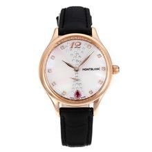 Replique Montblanc Princesse Grace de Monaco année boîtier en or rose avec bracelet en cuir cadran blanc-verre de saphir noir-35482
