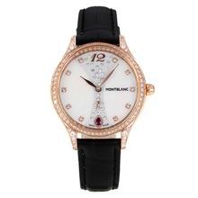 Replique Montblanc Princesse Grace de Monaco grade diamant en or rose avec bracelet en cuir cadran blanc-verre de saphir noir-35480