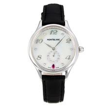 Replique Montblanc Princesse Grace de Monaco année avec cadran blanc-bracelet en cuir Sapphire Glass-Noir 35476