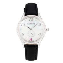 Replique Montblanc Princesse Grace de Monaco grade Diamant cas avec bracelet en cuir cadran blanc-verre de saphir noir-35474