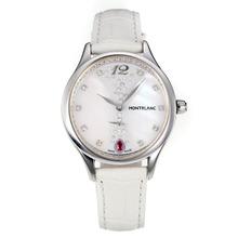 Replique Montblanc Princesse Grace de Monaco année avec cadran blanc-verre de saphir blanc-bracelet en cuir 35473