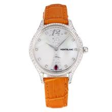 Replique Montblanc Princesse Grace de Monaco grade Diamant cas avec cadran blanc-verre de saphir bracelet en cuir brun-35467
