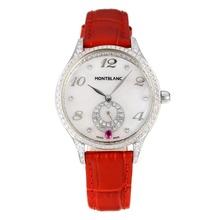 Replique Montblanc Princesse Grace de Monaco grade Diamant cas avec bracelet en cuir cadran blanc-verre de saphir-Rouge 35465