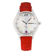 Replique Montblanc Princesse Grace de Monaco grade Diamant cas avec bracelet en cuir cadran blanc-verre de saphir-Rouge 35464