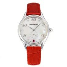 Replique Montblanc Princesse Grace de Monaco année avec cadran blanc-bracelet en cuir Sapphire Glass-Rouge 35462