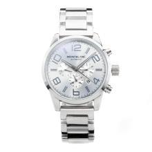 Replique Mont Blanc Time Walker automatique avec cadran argenté S / S - Attractive Montblanc Time Walker montre pour vous 35433