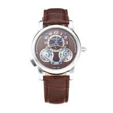 Replique Montblanc Nicolas Rieussec automatique avec cadran café-bracelet en cuir 35423