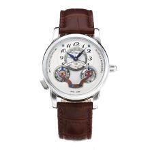 Replique Montblanc Nicolas Rieussec automatique avec cadran blanc-bracelet en cuir 35422