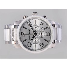 Replique Montblanc Time Walker travail Chronographe avec cadran argenté-authentique lunette en céramique - Attractive Montblanc Time Walker montre pour vous 35889