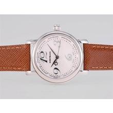 Replique Montblanc Star avec cadran blanc et bracelet brun-Taille-Dame - Attractive Montblanc Star Montre pour vous 35886