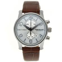 Replik Montblanc Flyback Working Chronograph with White Dial-Brown Leather Strap – Attractive Montblanc Flyback Watch for You 35849