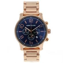 Replique Montblanc Time Walker Chronographe de travail complet en or rose avec cadran noir - Attractive Montblanc Time Walker montre pour vous 35813