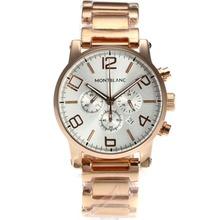 Replique Montblanc Time Walker Chronographe de travail complet en or rose avec cadran argenté - Attractive Montblanc Time Walker montre pour vous 35812