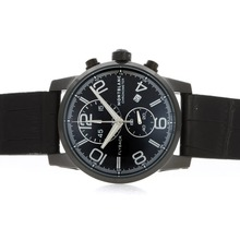Replique Montblanc Flyback Chronograph de travail classique PVD affaire avec cadran noir-bracelet en cuir - Attractive Regarder Flyback Montblanc pour vous 35798