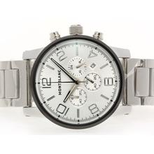 Replique Montblanc Time Walker travail Chronographe avec cadran argenté-PVD Lunette - Attractive Montblanc Time Walker montre pour vous 35788